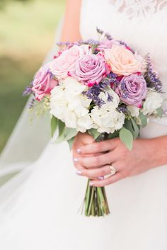 Purple & pink roses, white hydrangeas, lavender, summer wedding bouquet // Beth Joy Photography