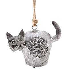 """Outdoor Metal Cat Bell Открытый Металл Кот Белл 1034198 $ 19.95 • Металл Кот-образный Сад Белл • Погода прочный-металлическая отделка • Детальные характеристики котенок с цветочным дизайном • Низкий тон как колокольчика • висит на джутовый канат Размеры 9-1 / 2 """"W х 14 """"H"""