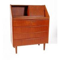 Danish teak 4 drawer secretary