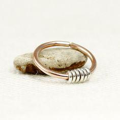 Septum Ring Coil Septum141618 or 20 gauge Rose or by ElementalSoul