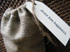 Wedding Favor Burlap Bag with Peace Love by PrinceSnowFarm on Etsy, $1.50