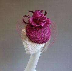 Dutch design aubergine and fuchsia mini hat by MarcusArtandFashion