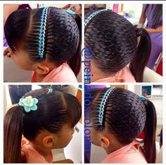 colorin peinados - Buscar con Google French Braid Hairstyles, Braided Hairstyles, Cool Hairstyles, Protective Hairstyles, Lil Girl Braid Styles, Curly Hair Styles, Natural Hair Updo, Natural Hair Styles, Ribbon Hairstyle