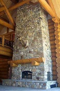 For high ceilings. Stone Fireplace Designs, Stacked Stone Fireplaces, Rock Fireplaces, Custom Fireplace, Fireplace Hearth, Sandstone Wall, Granite Slab, Design Fields, River Stones