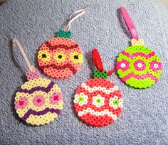 HOLIDAY ORNAMENTS - Set of 4 Beaded Bulb Ornaments - Perler Beads - Red -Green - Yellow - Coral. $12.00, via Etsy.