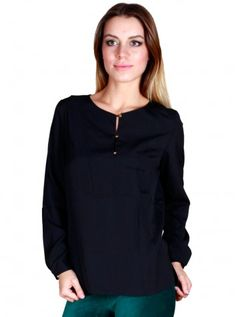 Siyah Üç Düğmeli Bluz