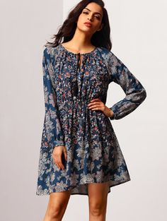 Online shopping for Navy V-neck Vintage Print Dress from a great selection of women's fashion clothing & more at MakeMeChic.COM.