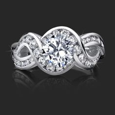 figure eight engagement rings   10 Carat Round Diamond Engraved Engagement Ring with Huge Quarter ...