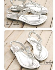 formal flat silver sandals for wedding | ... Embellished Flat Sandals Silver | Shoes | Sandals, Dressesstock.com