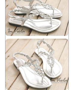 formal flat silver sandals for wedding | ... Embellished Flat Sandals Silver | Shoes | Sandals, Dressesstock.com