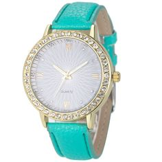 Attractive Colorful Fashion Women Diamond Analog Leather Quartz Wrist Watch Watches SP25