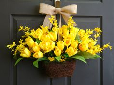 spring tulips wreath, yellow tulips forsythia wreaths, Easter wreaths, burlap bow, front door wreath, decorations on Etsy, $85.00