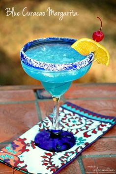 Blue Curacao Margarita Recipe. It is better than a regular lime margarita and fun for a party!