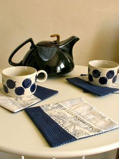 Quilted Tea Mats / Coasters / Navy Blue White / by ohthisnose, $18.00