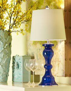Pier 1 Cobalt Glass Lamp