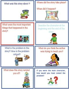 8 Retelling / Reading Comprehension Flashcards - Includes 8 Comprehension Cards - Students use these cards after independent reading as a way of improving comprehension. -The cards are to be laminated and cut out. - After reading a book, students answer Reading Comprehension Games, Comprehension Strategies, Reading Strategies, Reading Skills, Teaching Reading, Fun Learning, Teaching Ideas, Ela Anchor Charts, Teacher Workshops