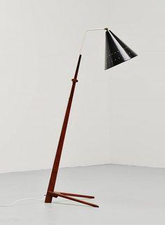 Nigel Walters; Teak and Enameled Metal Floor Lamp for Willem Hagoort, 1959.