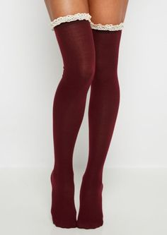 image of Burgundy Crochet Ruffled Over-The-Knee Socks