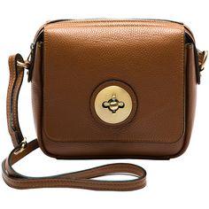Sofia Cardoni Cognac Circle-Lock Pebbled Leather Crossbody Bag ($70) ❤ liked on Polyvore featuring bags, handbags, shoulder bags, brown purse, brown crossbody, crossbody shoulder bag, cross body and brown cross body handbags