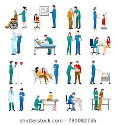 Nurse icons set with medical and healthcare symbols flat isolated  illustration
