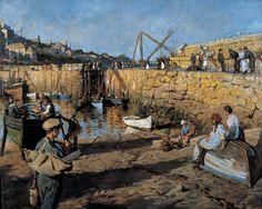 Fitting Out, Mousehole Harbour, 1919  - Stanhope Alexander Forbes