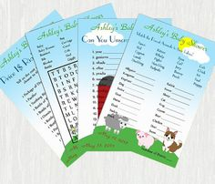Farm Baby Shower Games  Printable No. 057 by Moments2Celebrate, $15.00