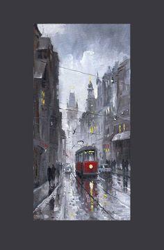 Gallery of artist Yuriy Shevchuk: Oil Cityscape Paintings, Prague Old Tram 03 Prague, Rain Painting, Art Watercolor, Desenho Tattoo, City Art, Beautiful Paintings, Fine Art America, Art Photography, Illustration Art