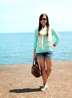 Jean shorts & a lightweight sweater
