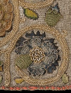 Linen sweet bag with silk embroidery (detail), English, 1600–30  © CSG CIC