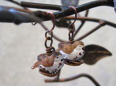 Song Sparrow Resin Bird Bead Earrings Sitting on