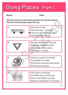 This reading comprehension activity, 'Going Places Part I' asks students to match simple sentences to pictures that relate to travel and transport. Answer sheet provided with file download. For the 3 page download, visit http://lessonzone.com.au/going-places-part-i/