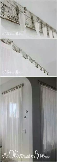 Creative way to hang up your curtains.   http://www.oliveandlove.com/
