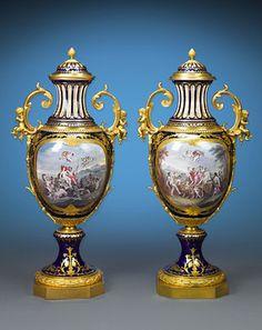 Antique Porcelain, European Porcelain, Sevres Porcelain Urns ~ M.S. Rau Antiques