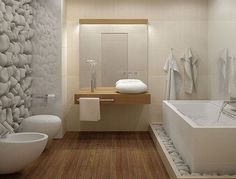 50 awesome natural stone bathroom ideas bathroom design freestanding tub with rocks at base white bathroom bedroom decor styles Stone Bathroom, Zen Bathroom, Free Standing Tub, Diy Bathroom Decor, Modern Bathroom, Bathrooms Remodel, Bathroom Design, Bathroom Decor, Beautiful Bathrooms