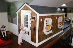 indoor play house - that's freaking awesome! Under Stairs Playhouse, Inside Playhouse, Kids Indoor Playhouse, Build A Playhouse, Playhouse Ideas, Playhouse Windows, Cedar Playhouse, Outdoor Playhouses, Indoor Playground