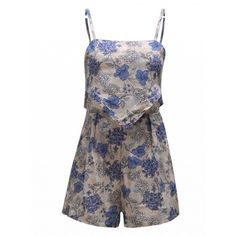Choies Multicolor Floral Layered Backless Cami Strap Romper Playsuit (1.070 RUB) ❤ liked on Polyvore featuring jumpsuits, rompers, multi, floral romper, playsuit romper, floral print romper, backless romper and strappy cami