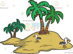 A Small Island With Seagulls :  A sandy island with two palm trees at each end and two seagulls with white and dark gray feathers yellow orange beak and feet  The post A Small Island With Seagulls appeared first on VectorToons.com.
