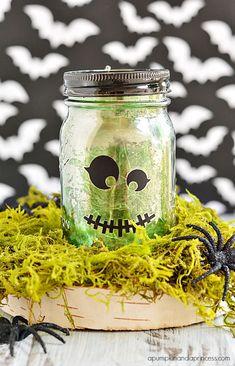 Mercury Glass Halloween Mason Jar made with Cricut Explore -- A Pumpkin & A Princess. #DesignSpaceStar Round 3