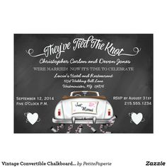 Vintage Convertible Chalkboard Post Wedding Invite Future guests will totally love this chic, unique chalkboard typography post wedding reception invitation. A variety of fonts and a unique, vintage convertible, make for an easy to personalize after the wedding celebration invitation. Just use the given template for a total custom look. Chalkboard typography gives a vintage feel while remaining a hot trend. Don't miss out on this one of a kind wedding design. Would you like a special…