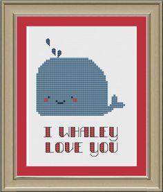 I whaley love you cute whale crossstitch von nerdylittlestitcher, $3.00