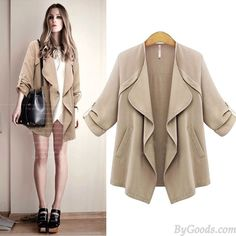 New Autumn Fashion Lapel Wavy Collar Solid Rolled Sleeves Casual Coat only $35.99 in ByGoods.com!