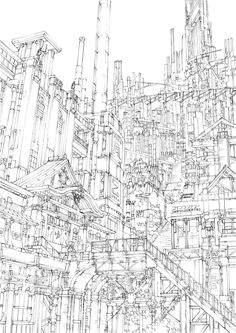 「大銭湯と百の階段の街 線画」/「K,Kanehira」のイラスト [pixiv]