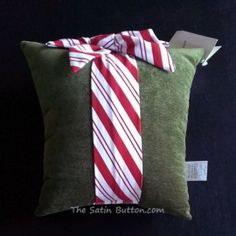 2013 Woof N Poof Christmas Pillow Large Green Velour with Candy Cane Bow
