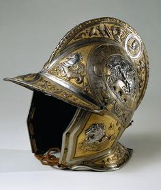 Helmet:    Balaclava a All'antica ensemble with Buckler (A 936b)     Owner: Archduke Charles II son of Ferdinand I of Habsburg Austria    1540 - 1590, Italy, ca. 1560.