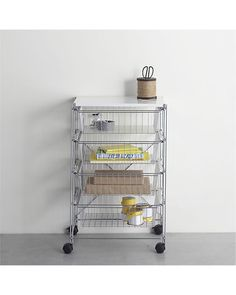 Chrome 4-Drawer Cart with White Top