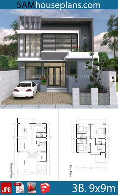 3 bedroom modern home plan - Sam House Plans Free House Plans, House Layout Plans, House Layouts, Small House Plans, Design Home Plans, Home Building Design, Building A House, Modern House Floor Plans, Duplex House Plans