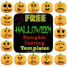 25 FREE Halloween Pumpkin Carving Templates #halloween