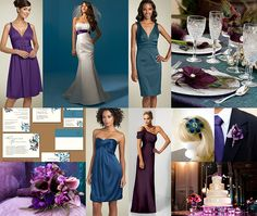 Peacock and Purple Inspiration Board - Using Peacock feathers as inspiration for wedding colors is at the tip top of the lists when it comes to trendy wedding colors. Love how the bright teals, blues, and greens blend so well with the vivid and dark purples.