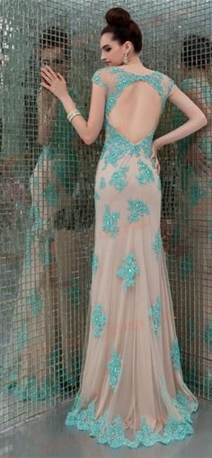 Cap Sleeve Elegant Lace Prom Dress 2015 Floor Length Beadings Evening Dress With Open Back