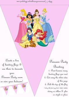 Hundreds of free, printable princess coloring pages, princess party invitations and activity sheets for little princesses the world over. Disney Princess Decorations, Princess Birthday Party Decorations, Princess Party Invitations, Disney Princess Birthday Party, Diy Birthday Banner, Kids Party Decorations, Party Ideas, Prince Party, Princess Coloring Pages